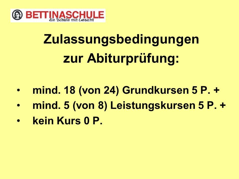 Zulassungsbedingungen zur Abiturprüfung: mind. 18 (von 24) Grundkursen 5 P. + mind. 5 (von 8) Leistungskursen 5 P. + kein Kurs 0 P.