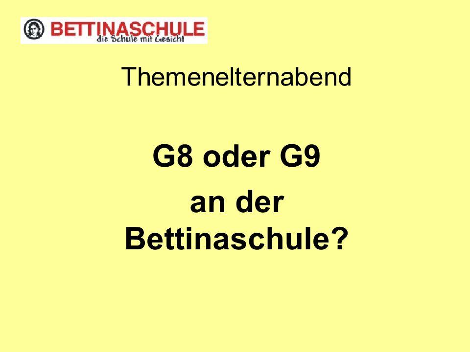Themenelternabend G8 oder G9 an der Bettinaschule?