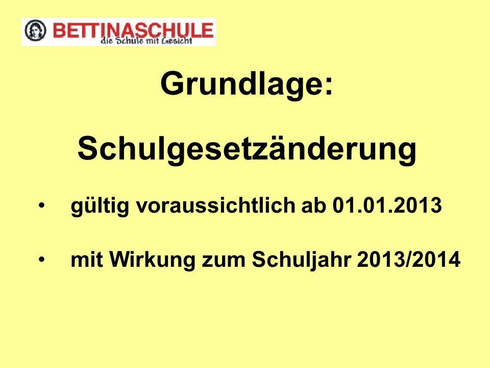 Grundlage: Schulgesetzänderung gültig voraussichtlich ab 01.01.2013 mit Wirkung zum Schuljahr 2013/2014