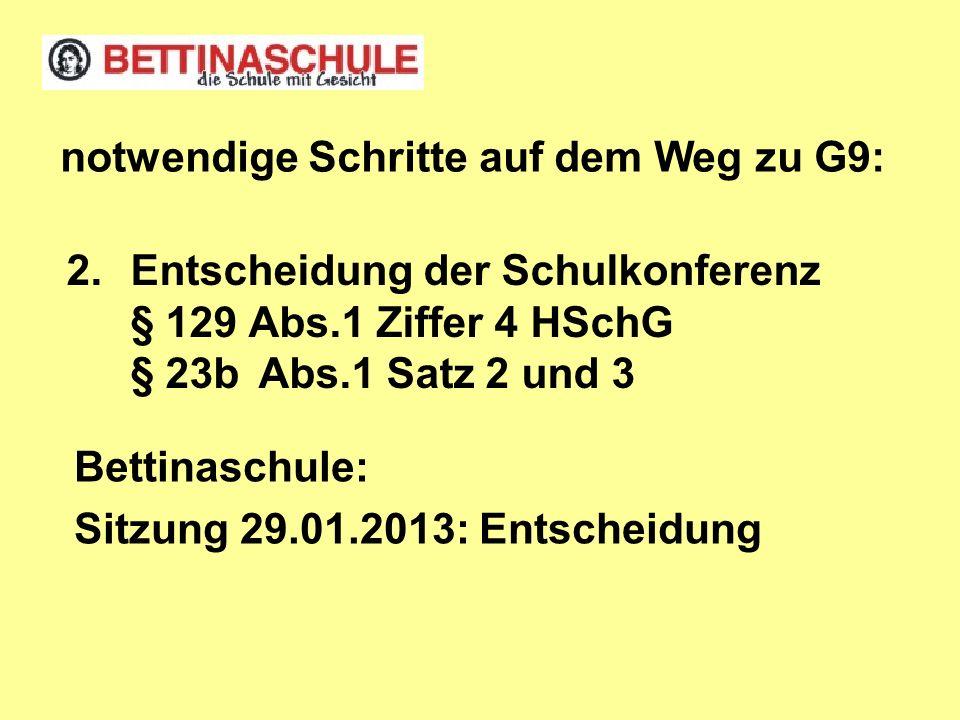 2.Entscheidung der Schulkonferenz § 129 Abs.1 Ziffer 4 HSchG § 23bAbs.1 Satz 2 und 3 notwendige Schritte auf dem Weg zu G9: Bettinaschule: Sitzung 29.01.2013: Entscheidung