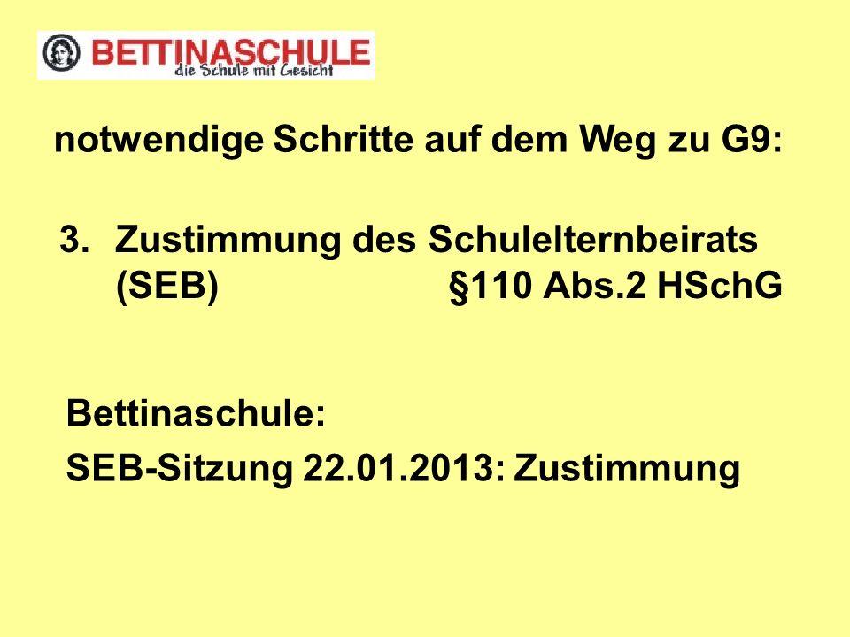 3.Zustimmung des Schulelternbeirats (SEB) §110 Abs.2 HSchG notwendige Schritte auf dem Weg zu G9: Bettinaschule: SEB-Sitzung 22.01.2013: Zustimmung