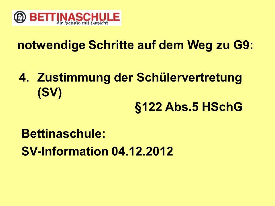 4.Zustimmung der Schülervertretung (SV) §122 Abs.5 HSchG notwendige Schritte auf dem Weg zu G9: Bettinaschule: SV-Information 04.12.2012