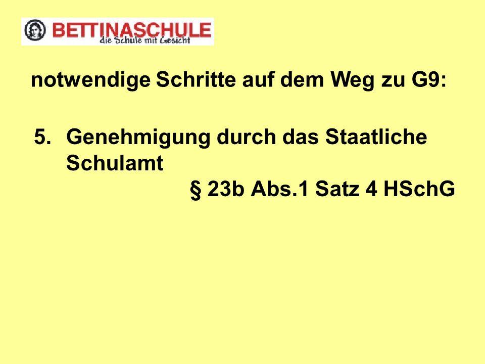 5.Genehmigung durch das Staatliche Schulamt § 23b Abs.1 Satz 4 HSchG notwendige Schritte auf dem Weg zu G9:
