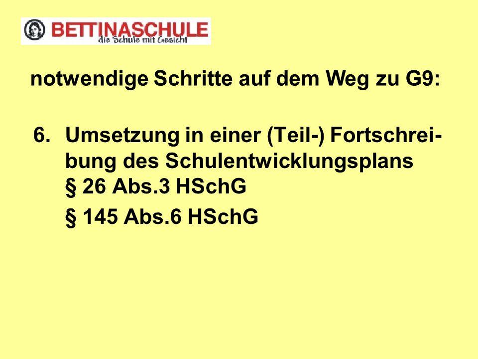 6.Umsetzung in einer (Teil-) Fortschrei- bung des Schulentwicklungsplans § 26 Abs.3 HSchG § 145 Abs.6 HSchG notwendige Schritte auf dem Weg zu G9: