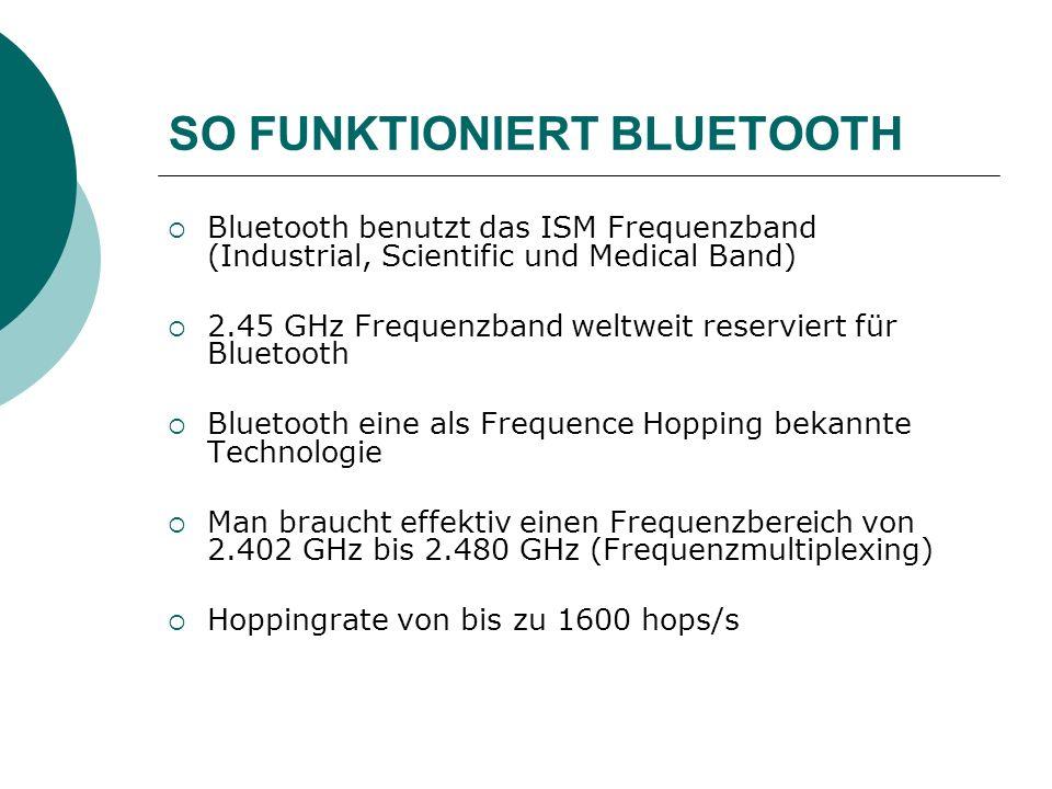 SO FUNKTIONIERT BLUETOOTH Bluetooth benutzt das ISM Frequenzband (Industrial, Scientific und Medical Band) 2.45 GHz Frequenzband weltweit reserviert f