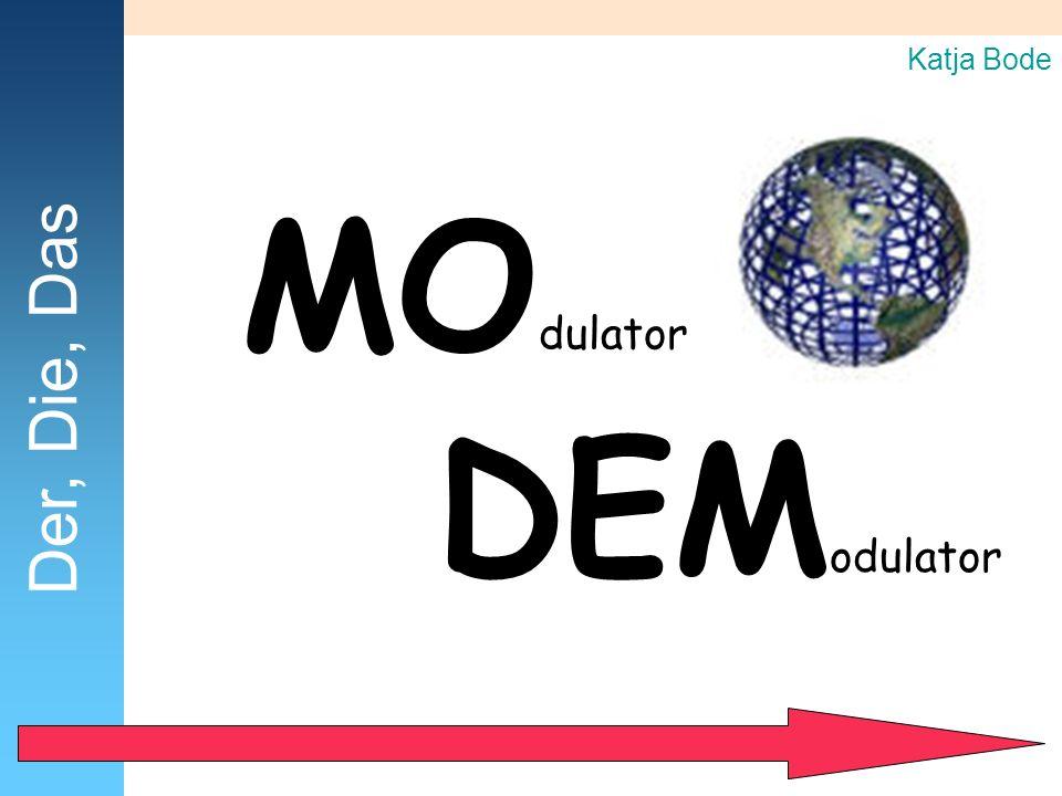 MO dulator DEM odulator Katja Bode Der, Die, Das