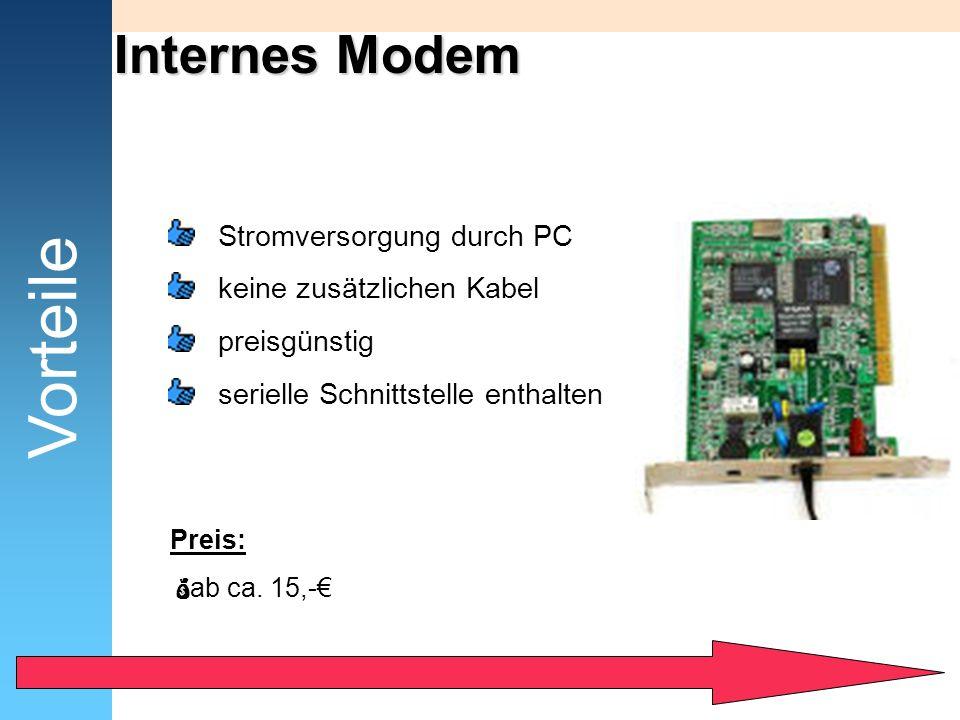 Internes Modem Vorteile Stromversorgung durch PC keine zusätzlichen Kabel preisgünstig serielle Schnittstelle enthalten Preis: ab ca. 15,-