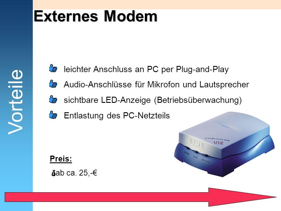 Externes Modem Vorteile leichter Anschluss an PC per Plug-and-Play Audio-Anschlüsse für Mikrofon und Lautsprecher sichtbare LED-Anzeige (Betriebsüberw