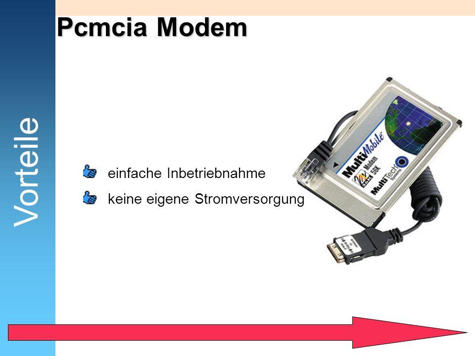 Pcmcia Modem Vorteile einfache Inbetriebnahme keine eigene Stromversorgung