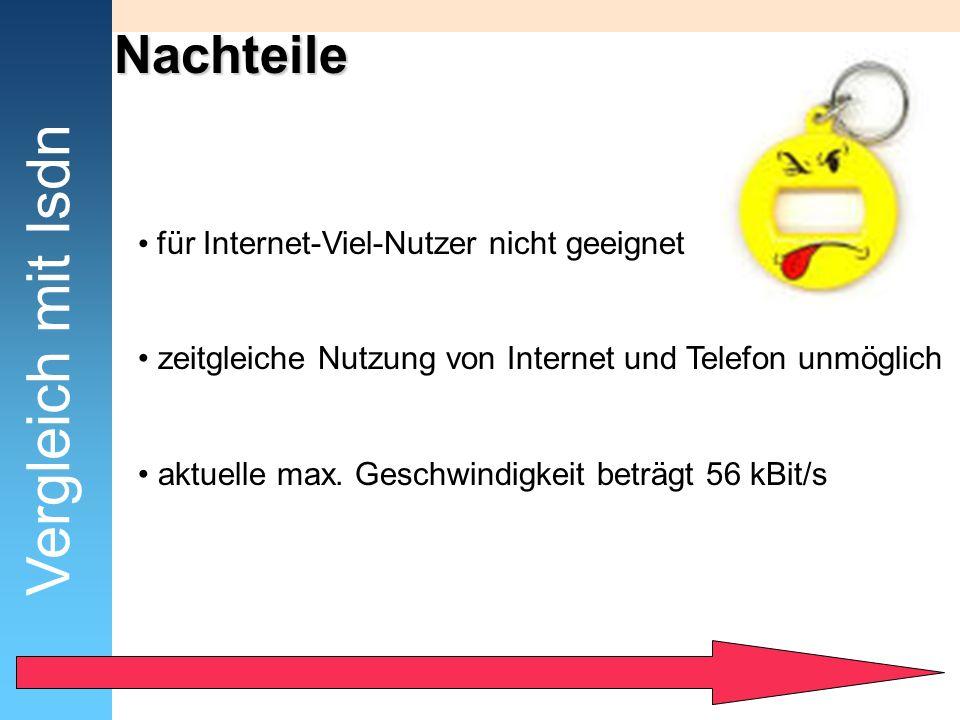 Nachteile Vergleich mit Isdn für Internet-Viel-Nutzer nicht geeignet zeitgleiche Nutzung von Internet und Telefon unmöglich aktuelle max. Geschwindigk