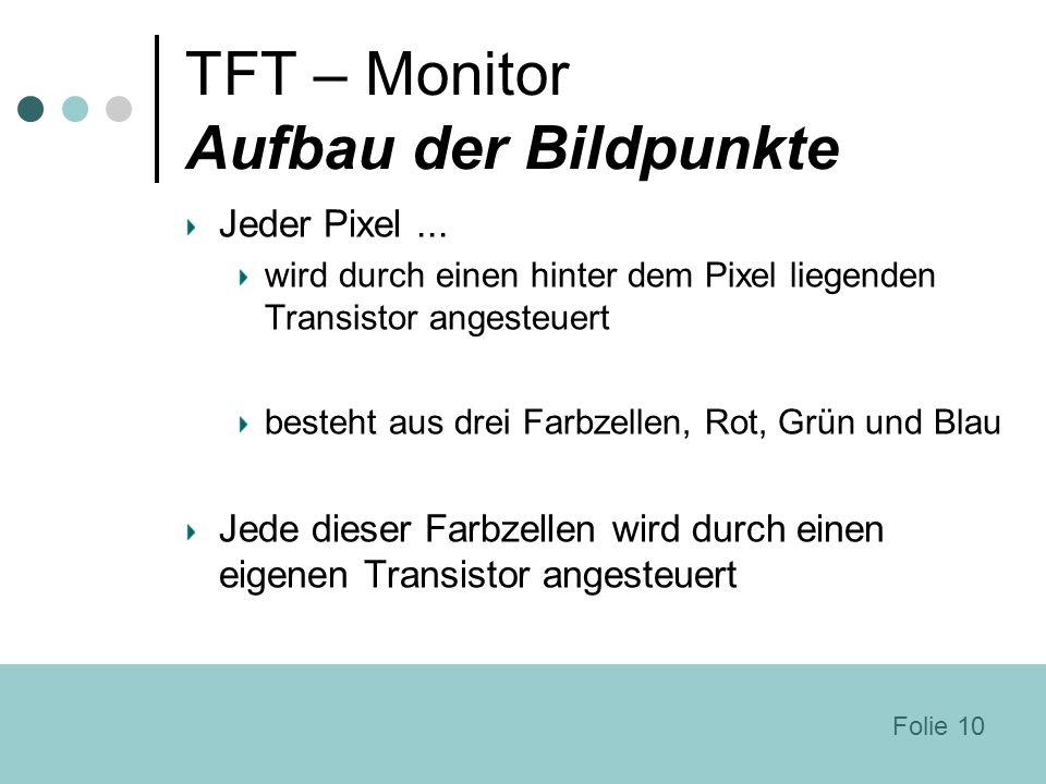 TFT – Monitor Aufbau der Bildpunkte Jeder Pixel... wird durch einen hinter dem Pixel liegenden Transistor angesteuert besteht aus drei Farbzellen, Rot