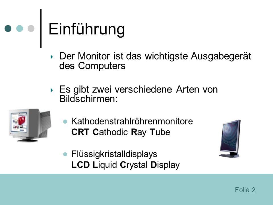 Einführung Der Monitor ist das wichtigste Ausgabegerät des Computers Es gibt zwei verschiedene Arten von Bildschirmen: Kathodenstrahlröhrenmonitore CR