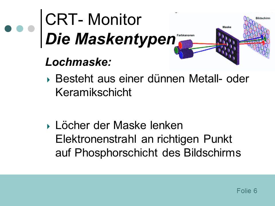 CRT- Monitor Die Maskentypen Lochmaske: Besteht aus einer dünnen Metall- oder Keramikschicht Löcher der Maske lenken Elektronenstrahl an richtigen Pun