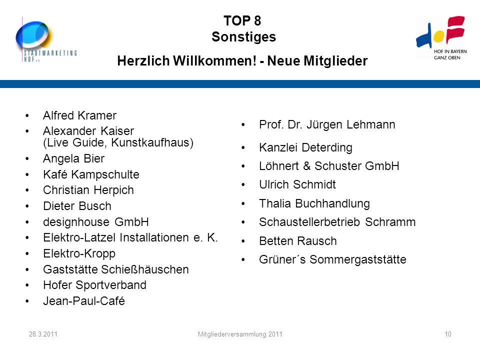 28.3.2011Mitgliederversammlung 201110 TOP 8 Sonstiges Herzlich Willkommen! - Neue Mitglieder Alfred Kramer Alexander Kaiser (Live Guide, Kunstkaufhaus