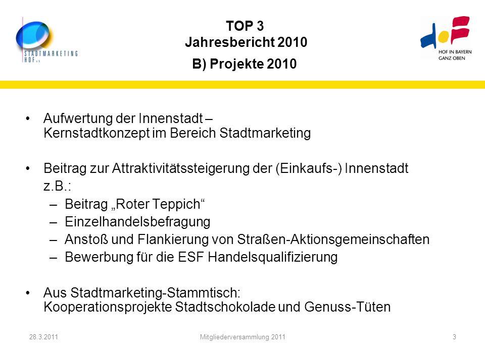 28.3.2011Mitgliederversammlung 20113 TOP 3 Jahresbericht 2010 B) Projekte 2010 Aufwertung der Innenstadt – Kernstadtkonzept im Bereich Stadtmarketing