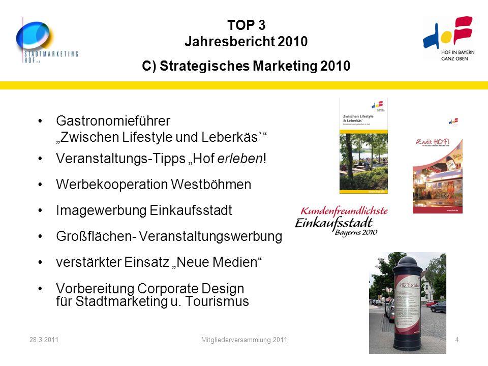 28.3.2011Mitgliederversammlung 20114 TOP 3 Jahresbericht 2010 C) Strategisches Marketing 2010 Gastronomieführer Zwischen Lifestyle und Leberkäs` Veran