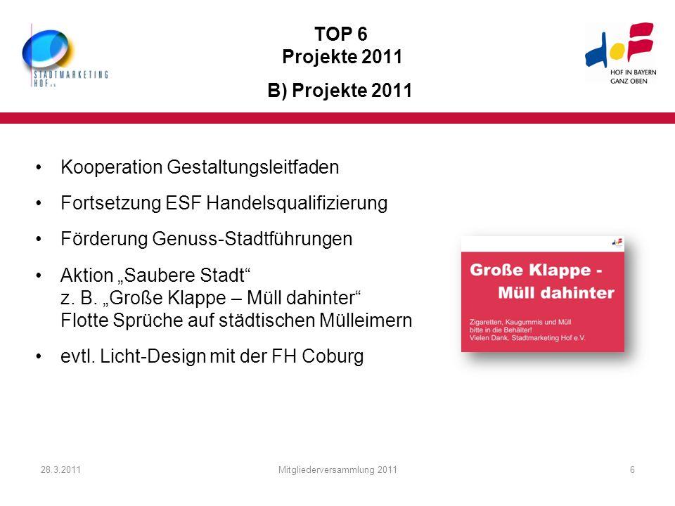 28.3.2011Mitgliederversammlung 20116 TOP 6 Projekte 2011 B) Projekte 2011 Kooperation Gestaltungsleitfaden Fortsetzung ESF Handelsqualifizierung Förde