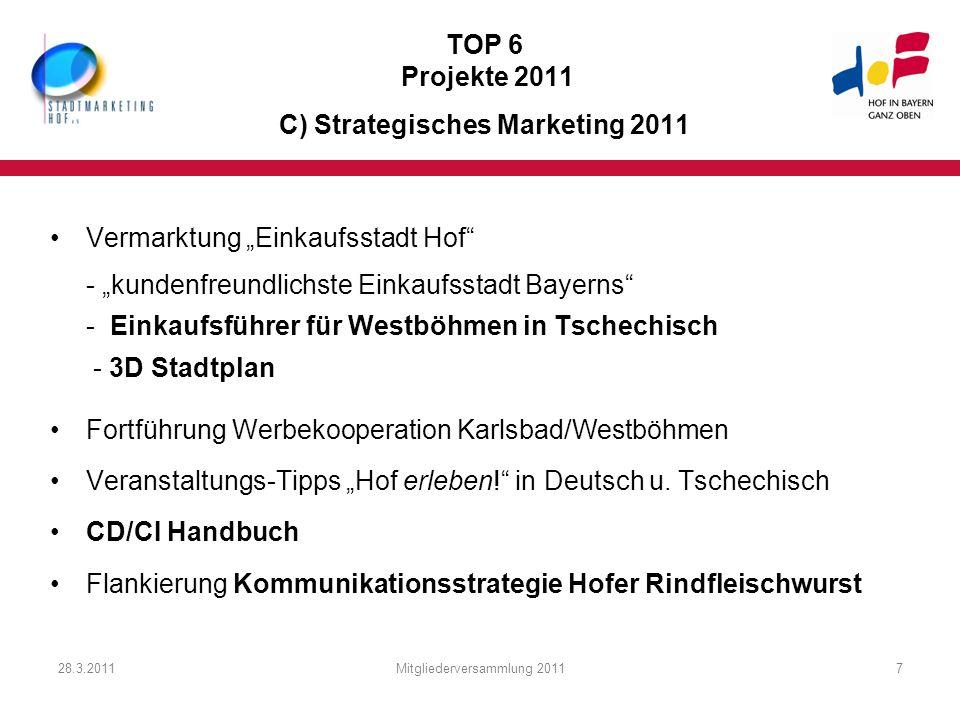 28.3.2011Mitgliederversammlung 20117 TOP 6 Projekte 2011 C) Strategisches Marketing 2011 Vermarktung Einkaufsstadt Hof - kundenfreundlichste Einkaufss