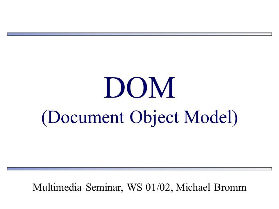 Inhalt 1.Allgemein 2.Daten in DOM - Form 3.Standards 4.Verfügbare APIs 5.Verwandte Technologien