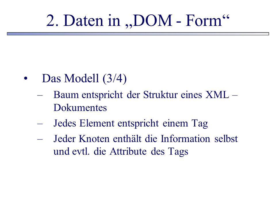 2. Daten in DOM - Form Das Modell (3/4) –Baum entspricht der Struktur eines XML – Dokumentes –Jedes Element entspricht einem Tag –Jeder Knoten enthält