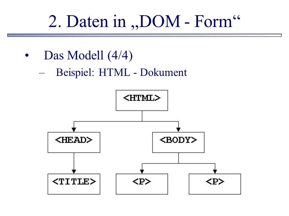 2. Daten in DOM - Form Das Modell (4/4) –Beispiel: HTML - Dokument