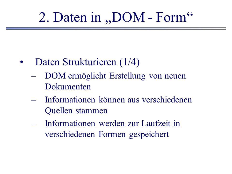 2. Daten in DOM - Form Daten Strukturieren (1/4) –DOM ermöglicht Erstellung von neuen Dokumenten –Informationen können aus verschiedenen Quellen stamm