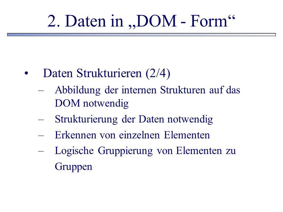 2. Daten in DOM - Form Daten Strukturieren (2/4) –Abbildung der internen Strukturen auf das DOM notwendig –Strukturierung der Daten notwendig –Erkenne