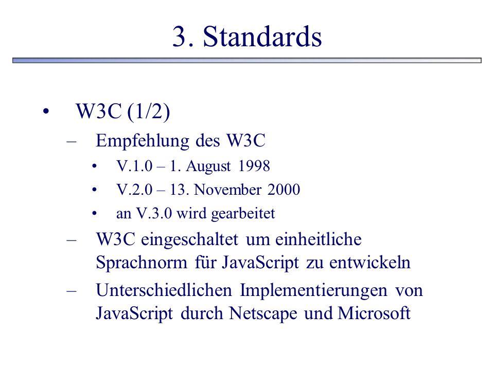 3. Standards W3C (1/2) –Empfehlung des W3C V.1.0 – 1. August 1998 V.2.0 – 13. November 2000 an V.3.0 wird gearbeitet –W3C eingeschaltet um einheitlich