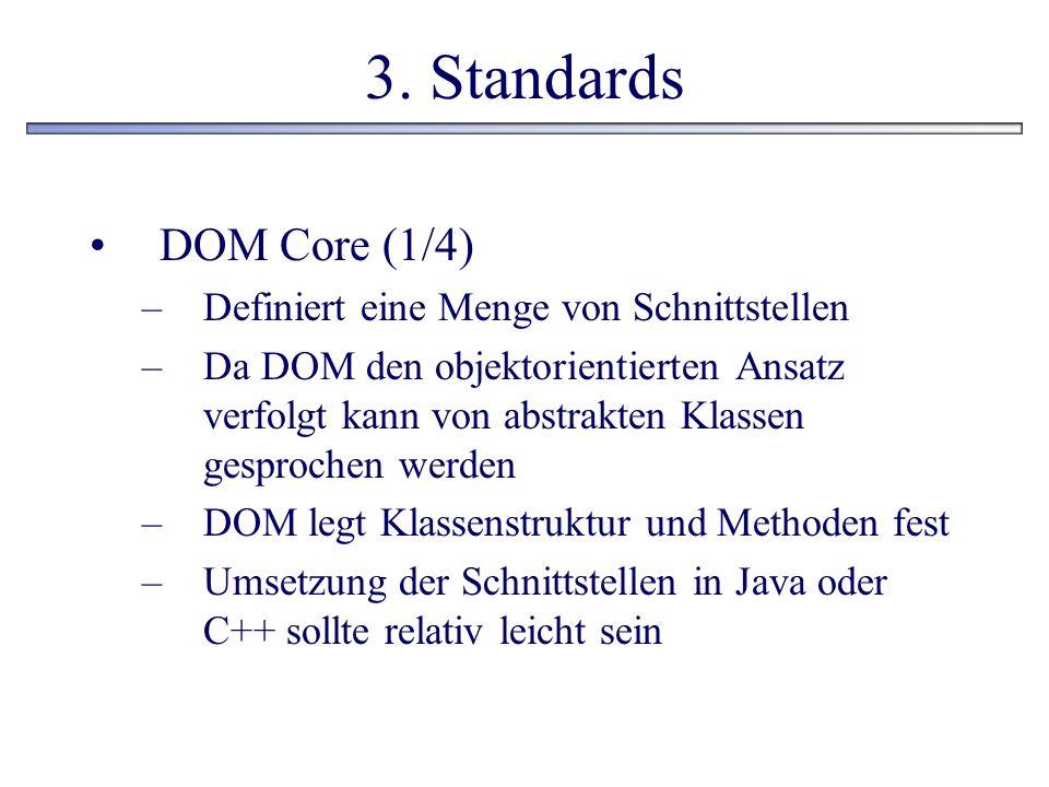 3. Standards DOM Core (1/4) –Definiert eine Menge von Schnittstellen –Da DOM den objektorientierten Ansatz verfolgt kann von abstrakten Klassen gespro