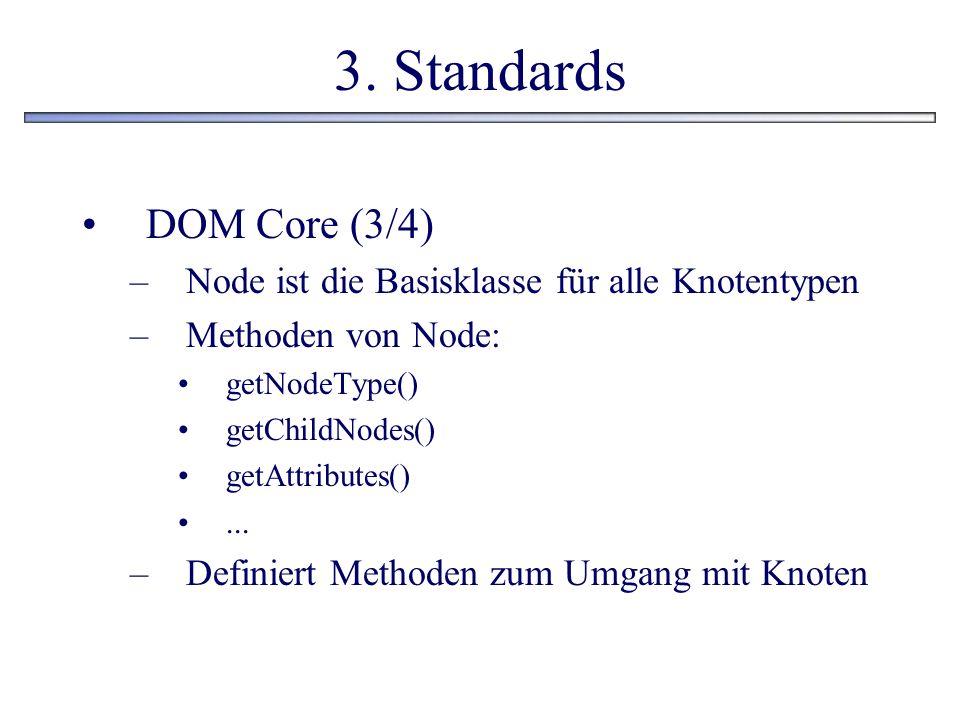 3. Standards DOM Core (3/4) –Node ist die Basisklasse für alle Knotentypen –Methoden von Node: getNodeType() getChildNodes() getAttributes()... –Defin