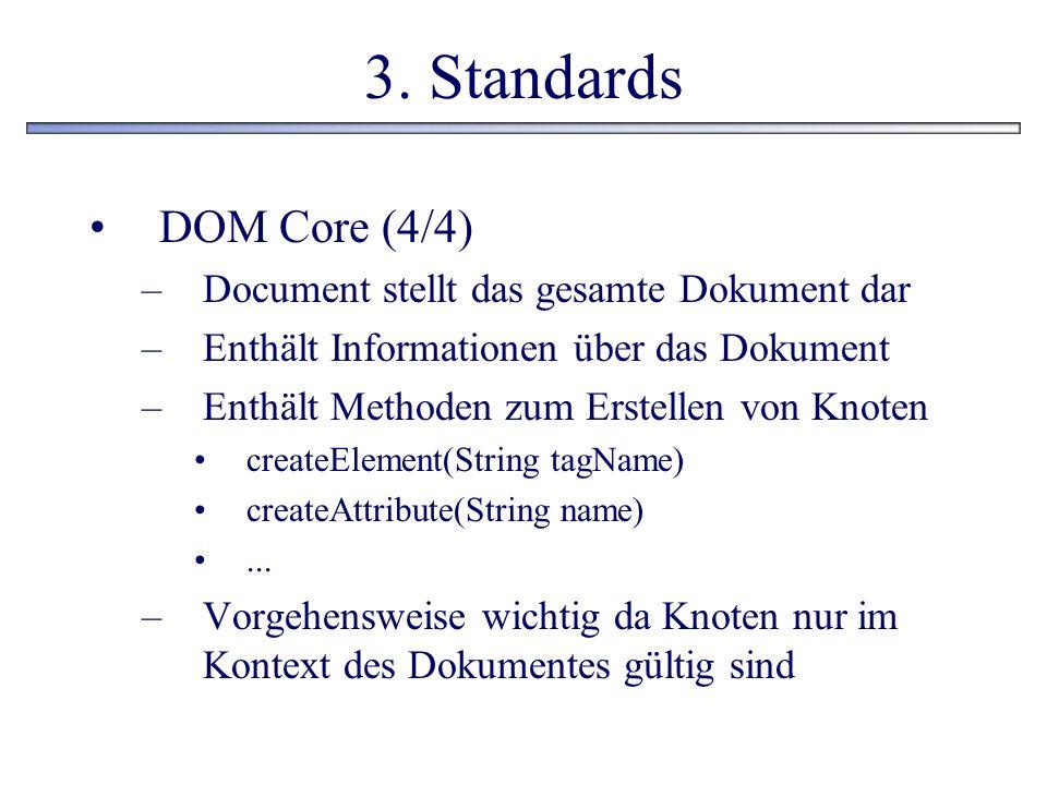 3. Standards DOM Core (4/4) –Document stellt das gesamte Dokument dar –Enthält Informationen über das Dokument –Enthält Methoden zum Erstellen von Kno
