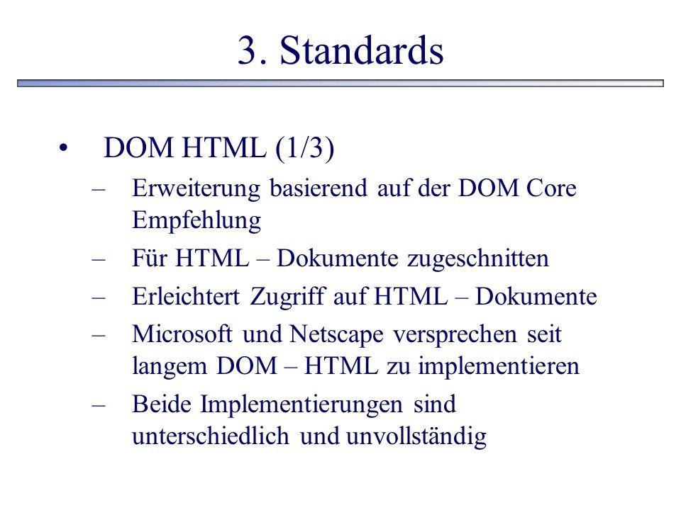 3. Standards DOM HTML (1/3) –Erweiterung basierend auf der DOM Core Empfehlung –Für HTML – Dokumente zugeschnitten –Erleichtert Zugriff auf HTML – Dok