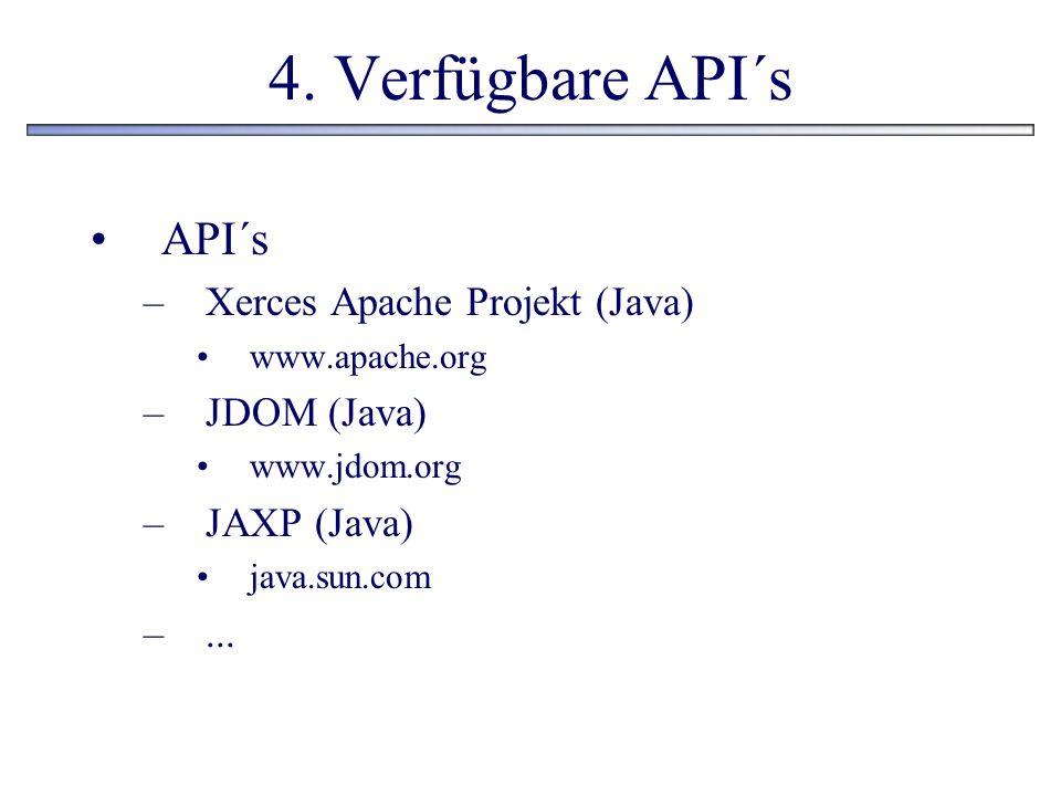 4. Verfügbare API´s API´s –Xerces Apache Projekt (Java) www.apache.org –JDOM (Java) www.jdom.org –JAXP (Java) java.sun.com –...