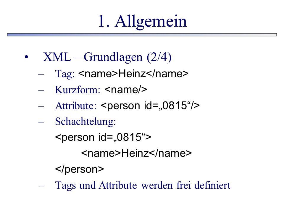 1. Allgemein XML – Grundlagen (2/4) –Tag: Heinz –Kurzform: –Attribute: –Schachtelung: Heinz –Tags und Attribute werden frei definiert