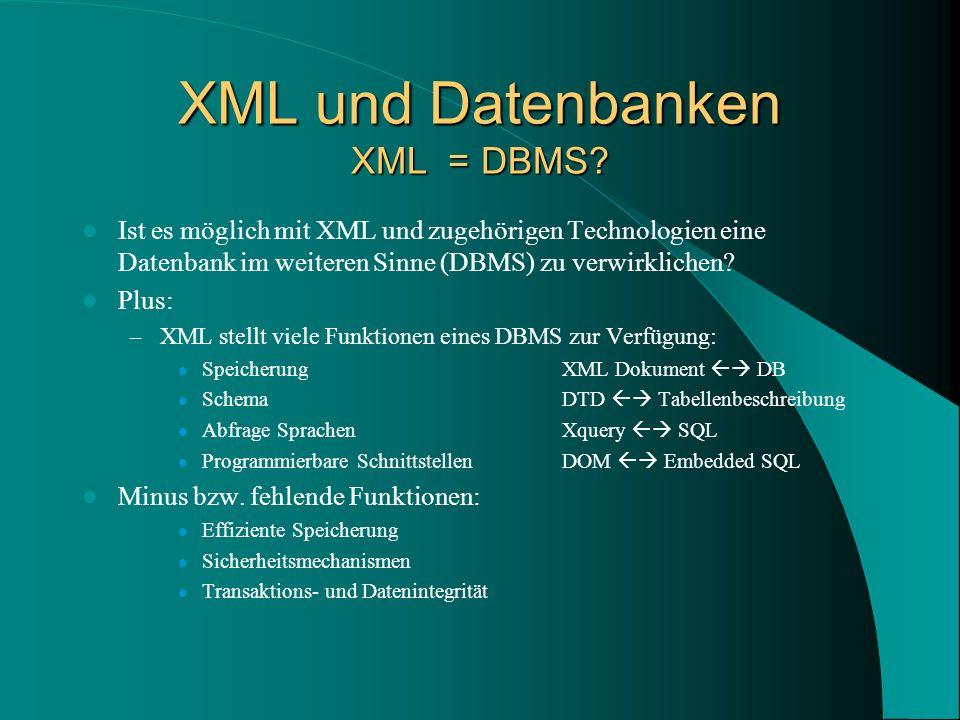 XML und Datenbanken XML = DBMS.