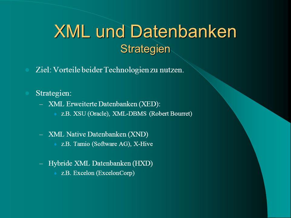 XML und Datenbanken Strategien Ziel: Vorteile beider Technologien zu nutzen.