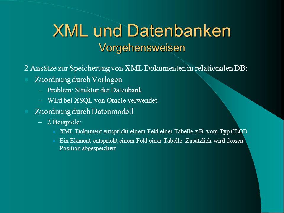 XML und Datenbanken Vorgehensweisen 2 Ansätze zur Speicherung von XML Dokumenten in relationalen DB: Zuordnung durch Vorlagen – Problem: Struktur der Datenbank – Wird bei XSQL von Oracle verwendet Zuordnung durch Datenmodell – 2 Beispiele: XML Dokument entspricht einem Feld einer Tabelle z.B.