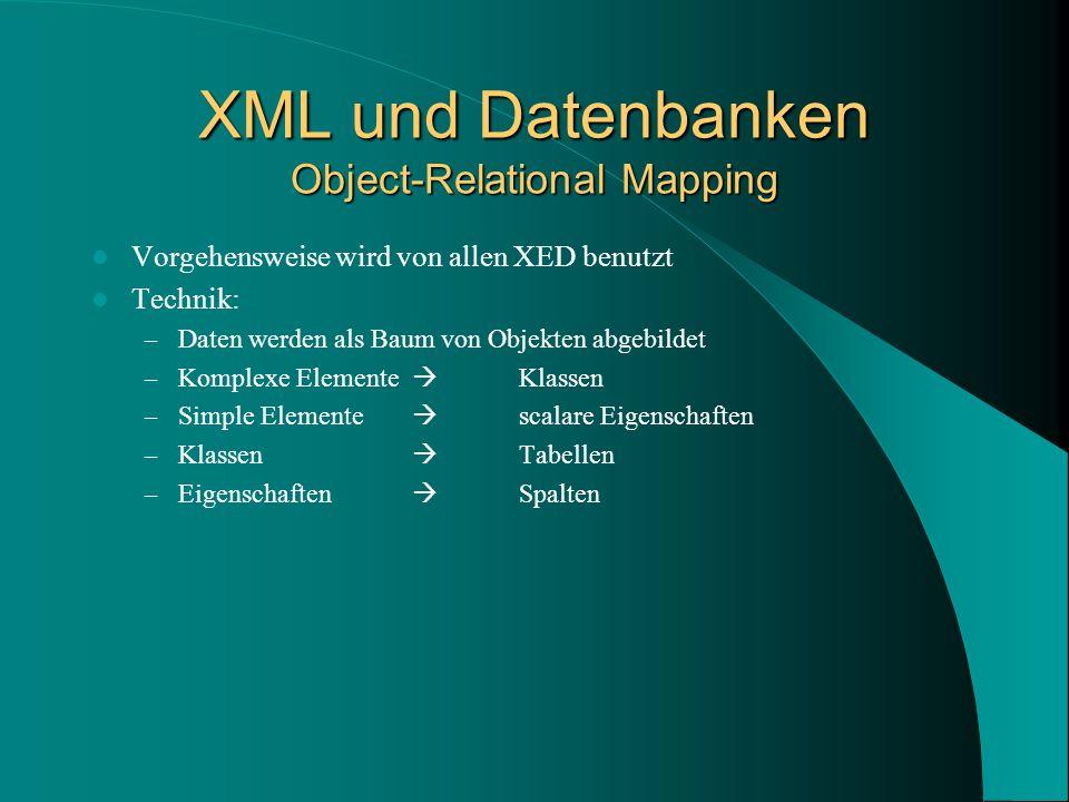 XML und Datenbanken Object-Relational Mapping Vorgehensweise wird von allen XED benutzt Technik: – Daten werden als Baum von Objekten abgebildet – Komplexe Elemente Klassen – Simple Elemente scalare Eigenschaften – Klassen Tabellen – Eigenschaften Spalten