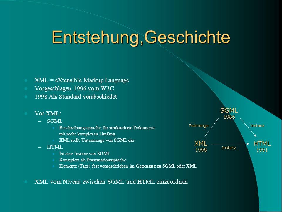 Entstehung,Geschichte XML = eXtensible Markup Language Vorgeschlagen 1996 vom W3C 1998 Als Standard verabschiedet Vor XML: – SGML Beschreibungssprache für strukturierte Dokumente mit recht komplexen Umfang.
