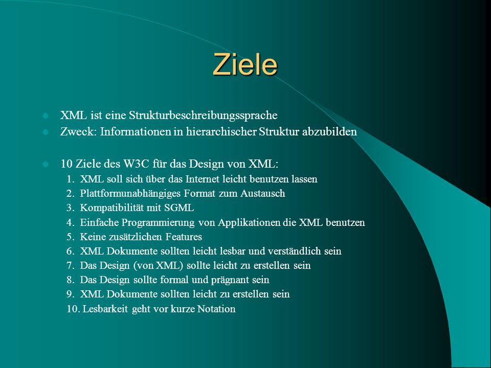 Ziele XML ist eine Strukturbeschreibungssprache Zweck: Informationen in hierarchischer Struktur abzubilden 10 Ziele des W3C für das Design von XML: 1.