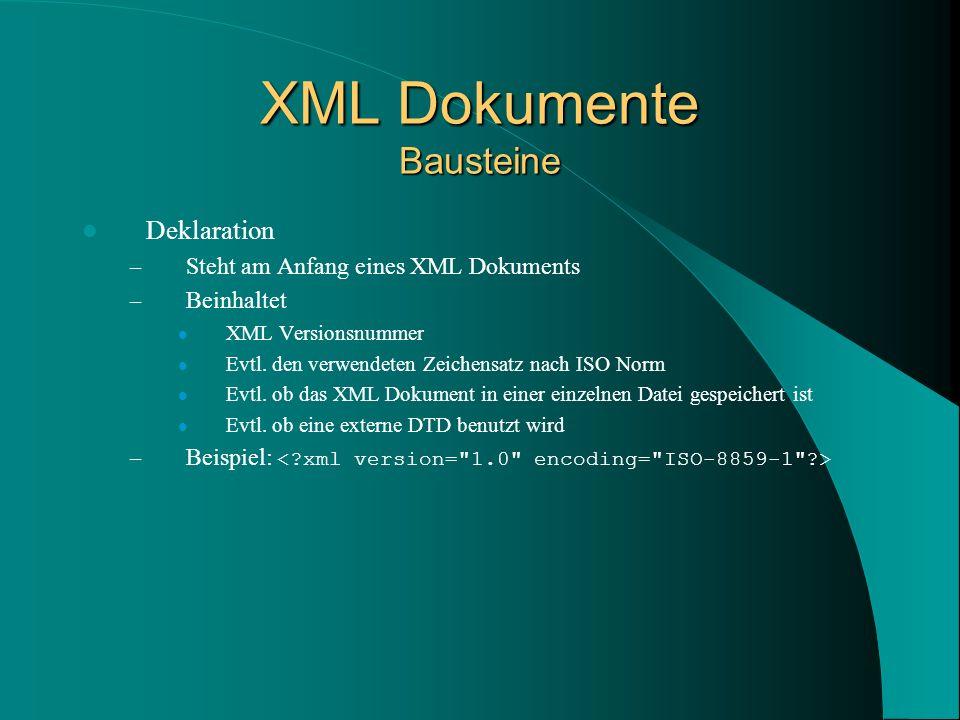 XML Dokumente Bausteine Deklaration – Steht am Anfang eines XML Dokuments – Beinhaltet XML Versionsnummer Evtl.