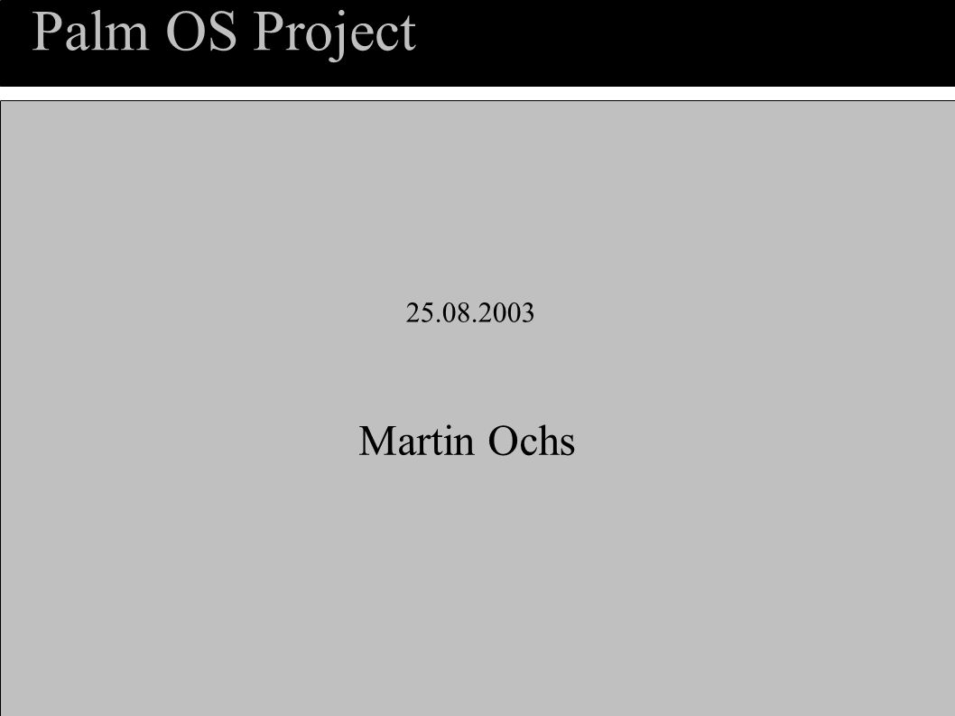 Palm OS Project Martin Ochs 25.08.2003