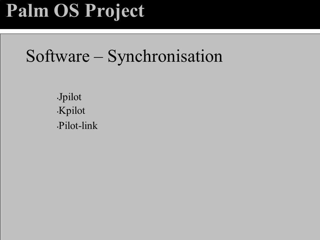 Palm OS Project Software – Synchronisation Jpilot Kpilot Pilot-link