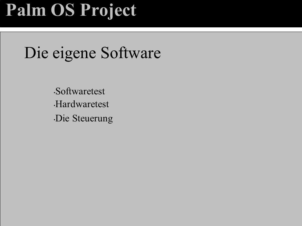 Palm OS Project Die eigene Software Softwaretest Hardwaretest Die Steuerung