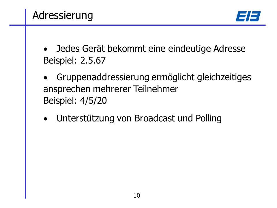 Adressierung Jedes Gerät bekommt eine eindeutige Adresse Beispiel: 2.5.67 Gruppenaddressierung ermöglicht gleichzeitiges ansprechen mehrerer Teilnehmer Beispiel: 4/5/20 Unterstützung von Broadcast und Polling 10