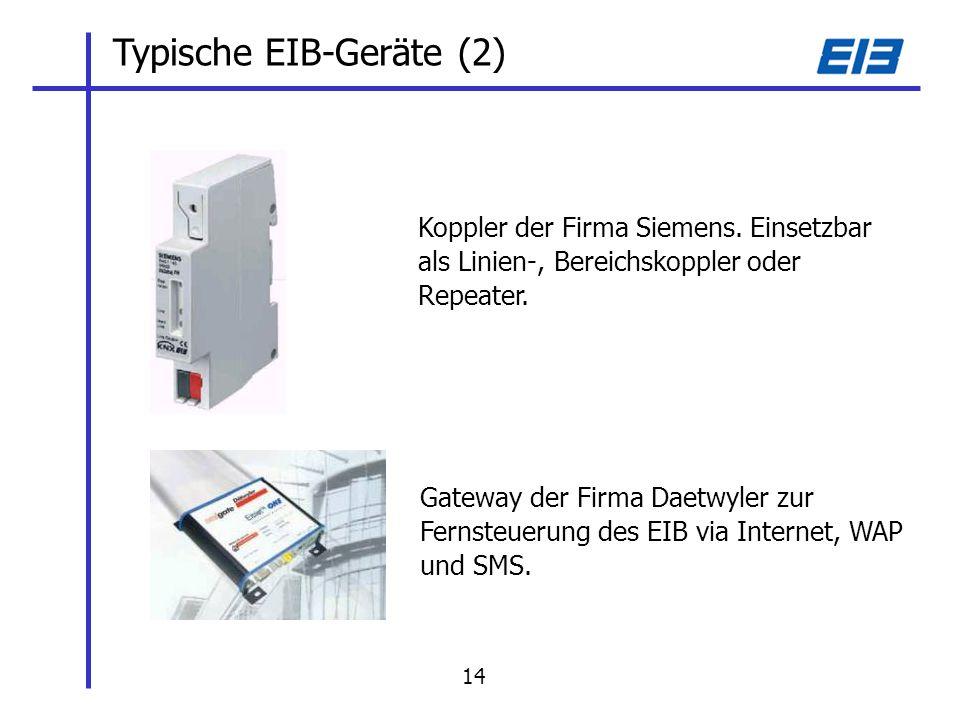 Typische EIB-Geräte (2) Koppler der Firma Siemens.