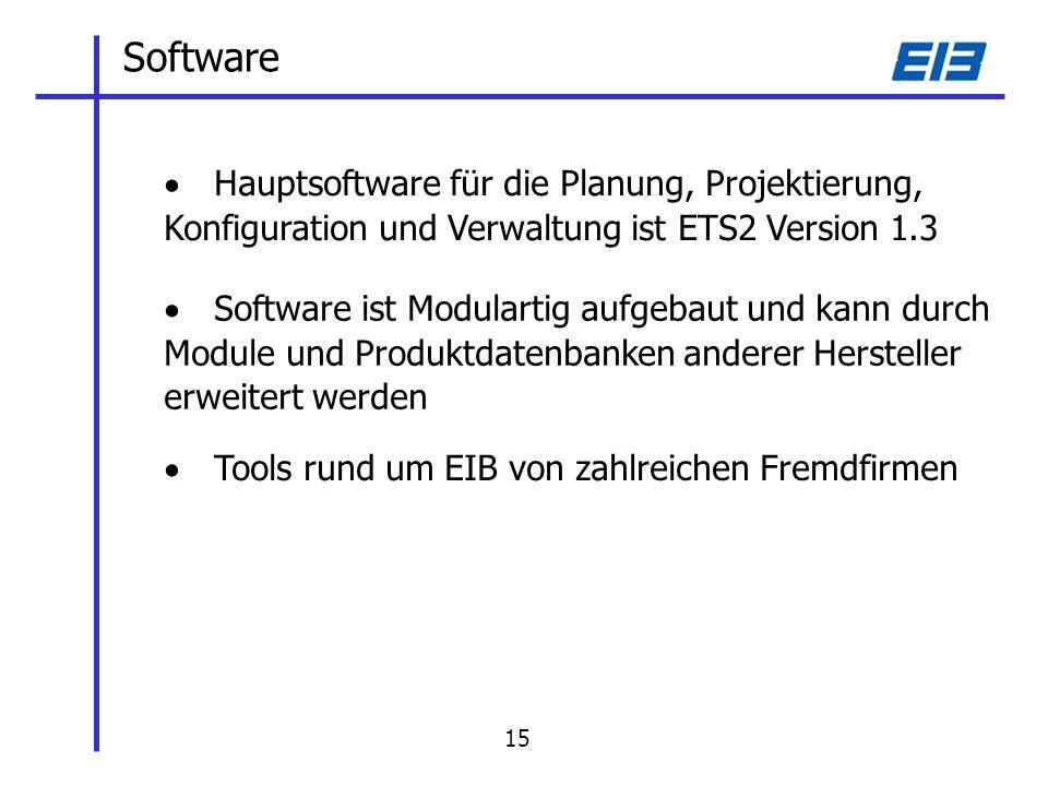 Software Hauptsoftware für die Planung, Projektierung, Konfiguration und Verwaltung ist ETS2 Version 1.3 Software ist Modulartig aufgebaut und kann durch Module und Produktdatenbanken anderer Hersteller erweitert werden Tools rund um EIB von zahlreichen Fremdfirmen 15