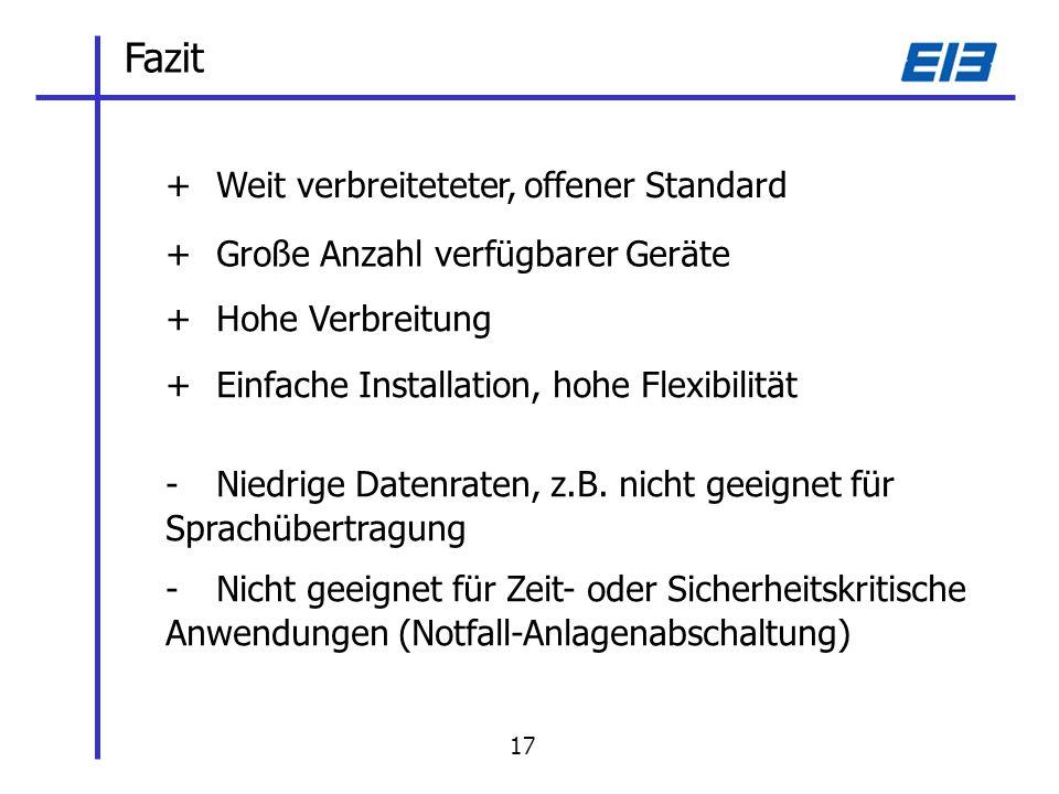 Fazit +Weit verbreiteteter, offener Standard +Große Anzahl verfügbarer Geräte +Hohe Verbreitung - Niedrige Datenraten, z.B.