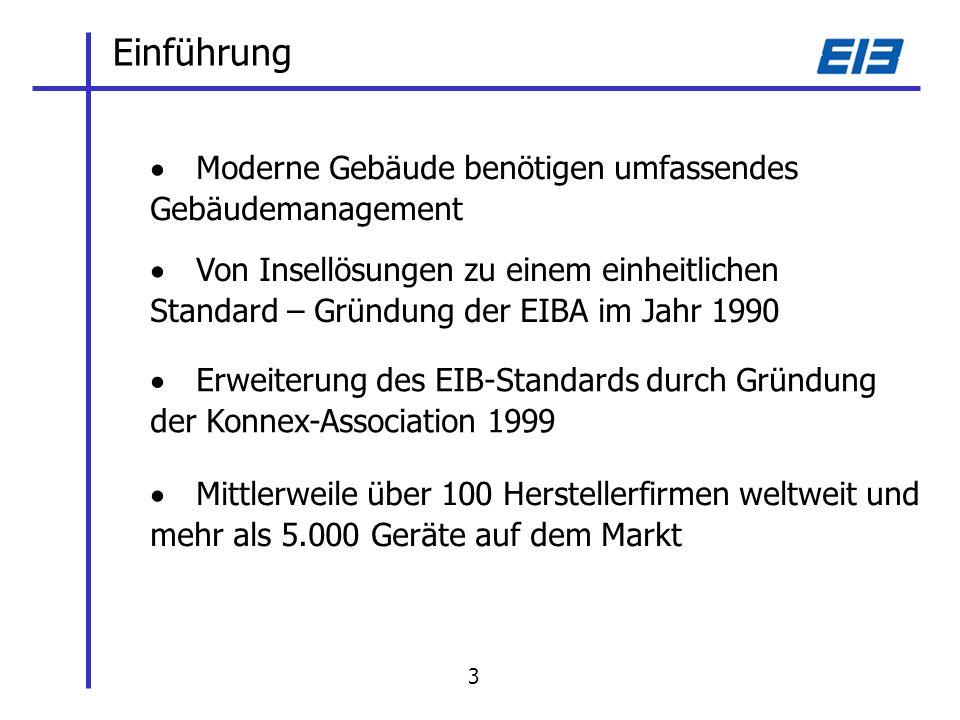 Einführung Von Insellösungen zu einem einheitlichen Standard – Gründung der EIBA im Jahr 1990 Erweiterung des EIB-Standards durch Gründung der Konnex-Association 1999 Mittlerweile über 100 Herstellerfirmen weltweit und mehr als 5.000 Geräte auf dem Markt Moderne Gebäude benötigen umfassendes Gebäudemanagement 3