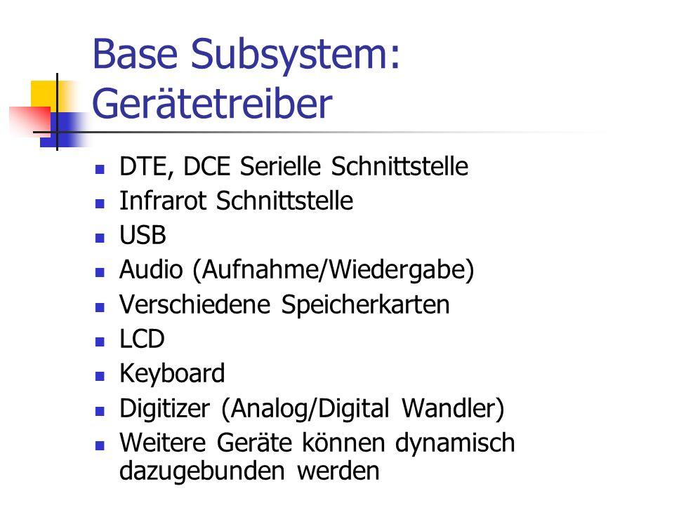 Base Subsystem: Gerätetreiber DTE, DCE Serielle Schnittstelle Infrarot Schnittstelle USB Audio (Aufnahme/Wiedergabe) Verschiedene Speicherkarten LCD Keyboard Digitizer (Analog/Digital Wandler) Weitere Geräte können dynamisch dazugebunden werden